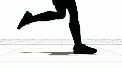 Feet of the running sportsman. Black on white. - stock footage