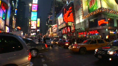 Stock Video Footage of Times Square at dusk
