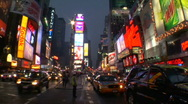 Stock Video Footage of Times Square at dusk and time lapse