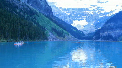 Stock Video Footage of Canoes glacial lake Louise P HD 7470