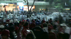 Protesters RIOT Demonstration Confronts Troops Police Violence Bangkok 2010 Stock Footage