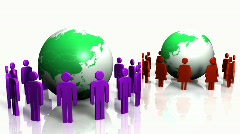 3d men and women turning around globe Stock Footage