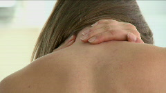 Close-up of a woman having a neck pain Stock Footage