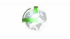 3D world with green arrows Stock Footage
