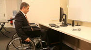 Successful businessman with wheelchair Stock Footage