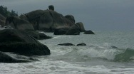 Stock Video Footage of Rocky headland on overcast day