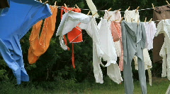 Laundry on clothes line P HD 1124 Stock Footage