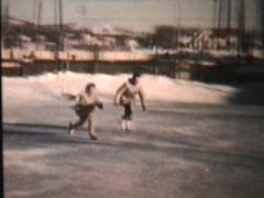 Ice Skating At The Local Rink (1960 Vintage 8mm) Stock Footage
