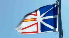 Newfoundland And Labrador Provincial Flag Canada Flying Against A Blue Sky Stock Footage