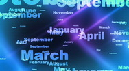 Stock Video Footage of Months of the Year Looping Animated Background