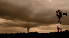 Tornado/Twister in the Storm with Windmill Stock Footage