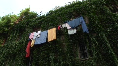 Leaning cloths in old Rome Stock Footage