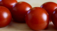 Panning shot of fress cherry tomatoes Stock Footage