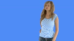 Blond young woman having a backache - stock footage