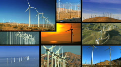 Montage of Clean Wind Turbine Energy Stock Footage