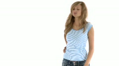 Cute young woman having a backache - stock footage