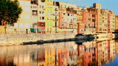 Girona spain urban city river tourist landmarks Stock Footage