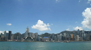 Stock Video Footage of Hong Kong Victoria Harbour and city  skyline (panning)