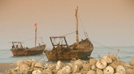 Chinese fishing boats Stock Footage