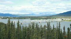 River bridge traffic Teslin Yukon Canada P HD 7708 - stock footage