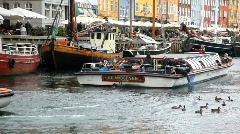 Harbour sightseeing from Nyhavn in Copenhagen Stock Footage