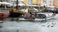 Harbour sightseeing from Nyhavn in Copenhagen Stock Footage
