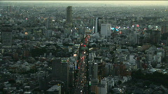 Trafic jam in a big city. Aerial view of Tokyo - stock footage