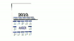 Loopable New Year 2010-2011 calendar on white background  - stock footage