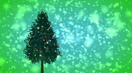 Stock Video Footage of Spinning Christmas tree on green snowy background
