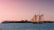Stock Video Footage of Schooner at sunset off Key West, Florida