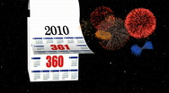 Stock Video Footage of New Year 2010-2011 calendar, fireworks in space