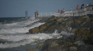Waves at the Jetty Stock Footage