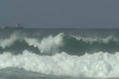 Hurricane Igor - Small Cargo Ship heading to sea 4 Stock Footage