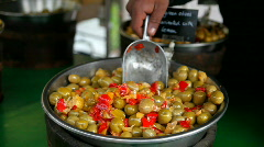 Red and green olives Stock Footage