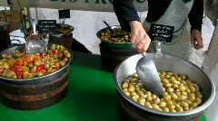 Green olives with almonds Stock Footage
