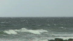 Storm on the Baltic sea making big waves on the ocean at Gotland in Sweden Stock Footage