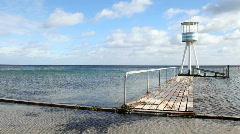 Lifeguard towers at the beach Bellevue,Copenhagen  - stock footage