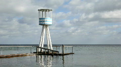 Lifetguard towers by architect Arne Jacobsen - stock footage