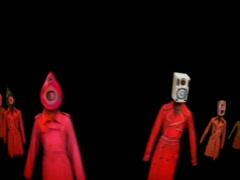 Dancing speaker head dresses - stock footage