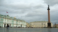 Palace square in cloudy day, St. Petersburg Stock Footage