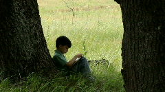 boy reads  book,  nature, summer,  green grass Stock Footage