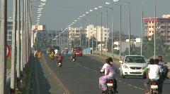 Crowded bridge at Daman Stock Footage