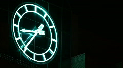 Neon Clock at Night Time Lapse Stock Footage