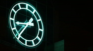 Stock Video Footage of Neon Clock at Night Time Lapse
