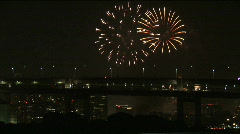 Japanese Festival Hanabi. Fireworks. Odaiba, Tokyo, Japan. Bay. Summer Night Stock Footage