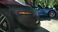 A row of C 6 Corvettes Stock Footage