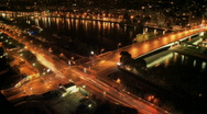 Stock Video Footage of Paris crossroads timelapse night