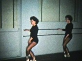 Stock Video Footage of Girls Practising With Ballet Barre (1958 Vintage 8mm)