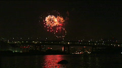 The light from the fireworks reflects on the water. Tokyo, Japan Stock Footage