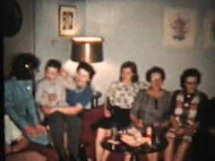 Christmas Family Gathering (1958 Vintage 8mm) Stock Footage
